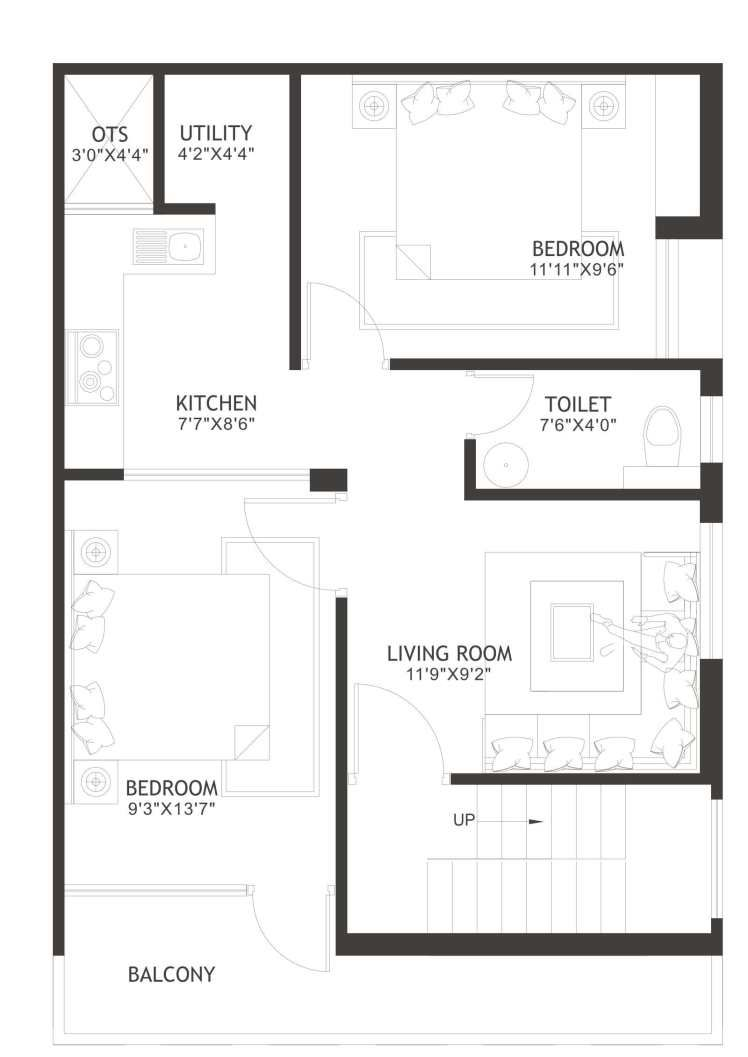 600 Square Feet Small And Simple Residence With Floor Plans Floor Plans New House Plans House Floor Plans