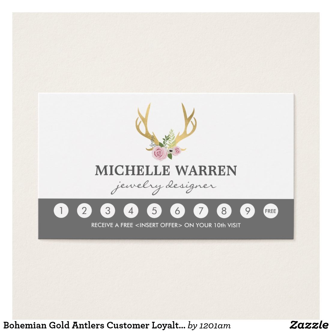 Bohemian Gold Antlers Customer Loyalty Punch Card | Business cards