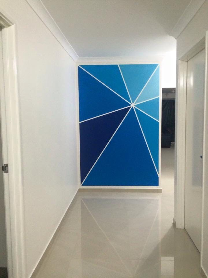 Dulux Passionateblue Feature Wall Paint Diy Diy Dulux Feature Paint Passionateblue Wall Diy Wall Painting Wall Paint Designs Geometric Wall