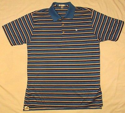26bc2edb PETER MILLAR GOLF POLO Shirt White Blue Striped BLUE ROOSTER TELECOM L LARGE