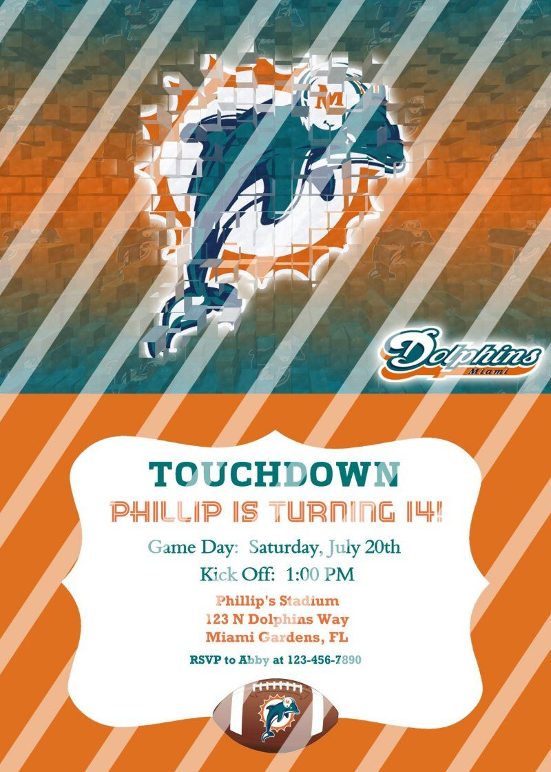 Miami Dolphins Personalized Party Invitation #9 (digital file you ...