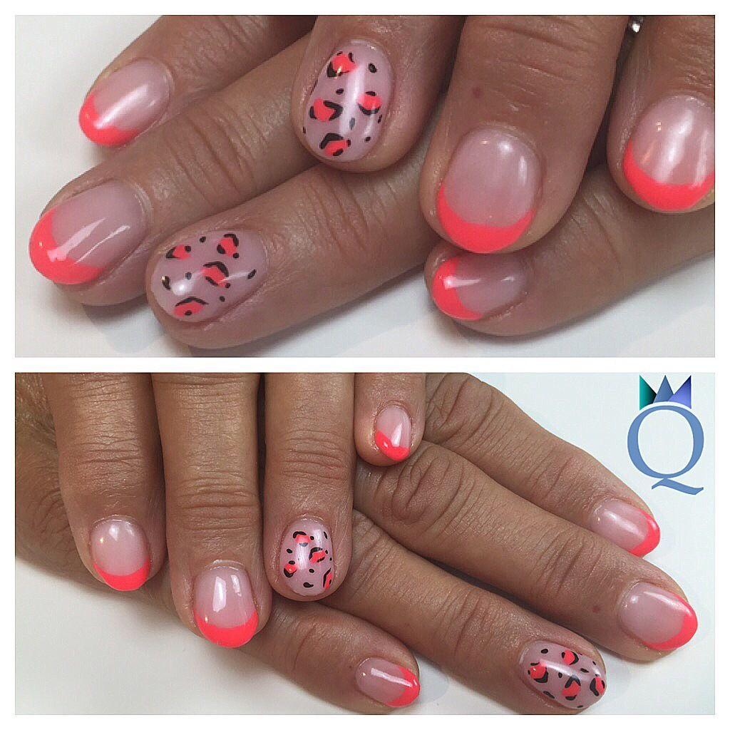 shortnails #roundnails #neon #french #leopard #design #handpainted ...