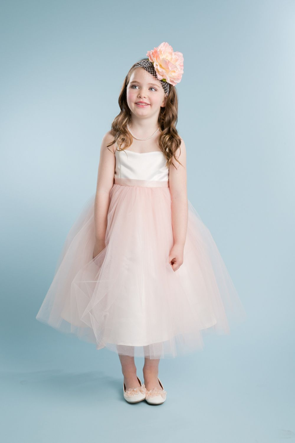 Ivory/Blush Satin Bodice with Glitter Tulle Overlayed Flower Girl ...