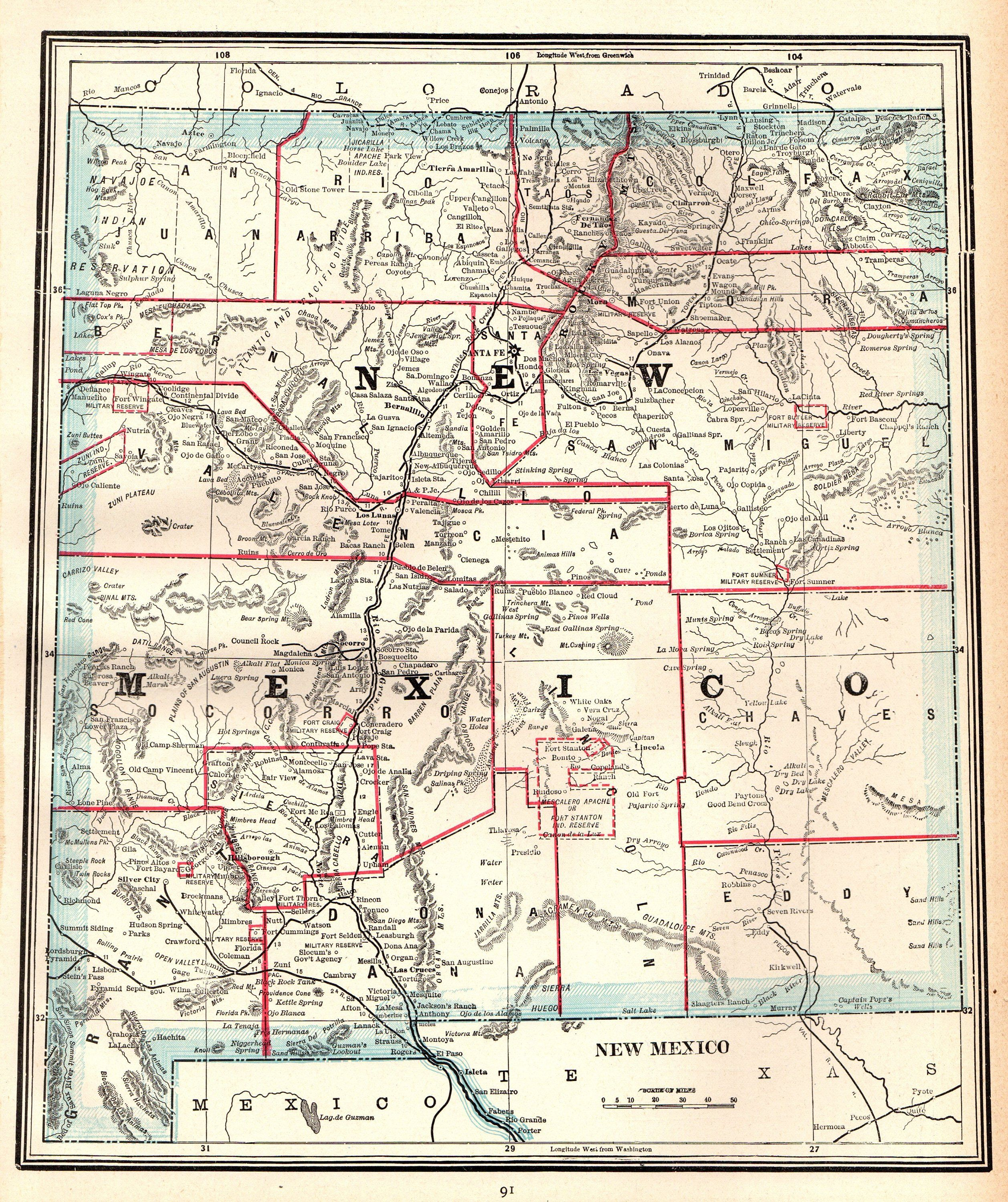 1911 Antique NEW MEXICO Map Vintage State Map of New Mexico Gallery ...