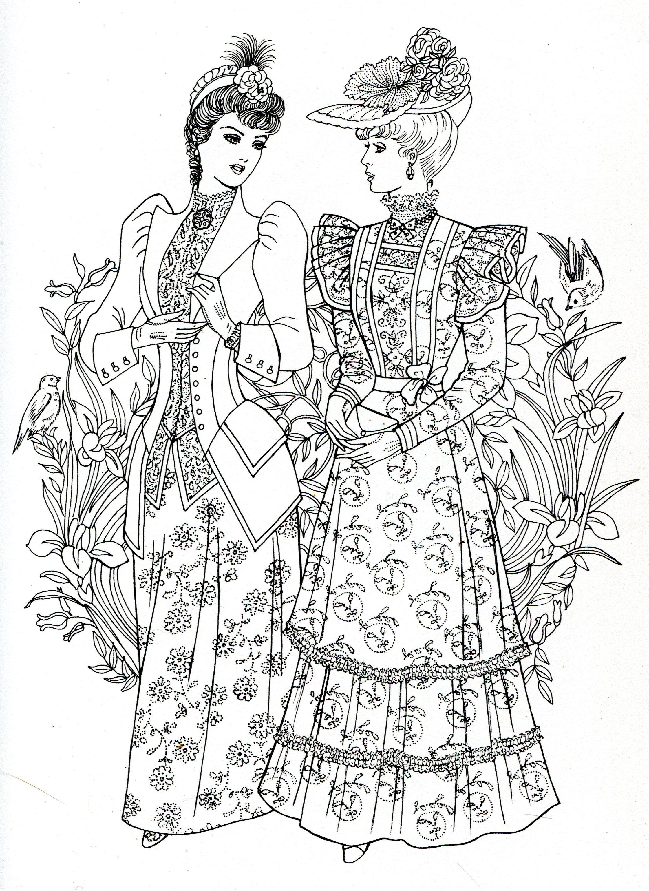 art nouveau fashions for coloring cute coloring book pinterest