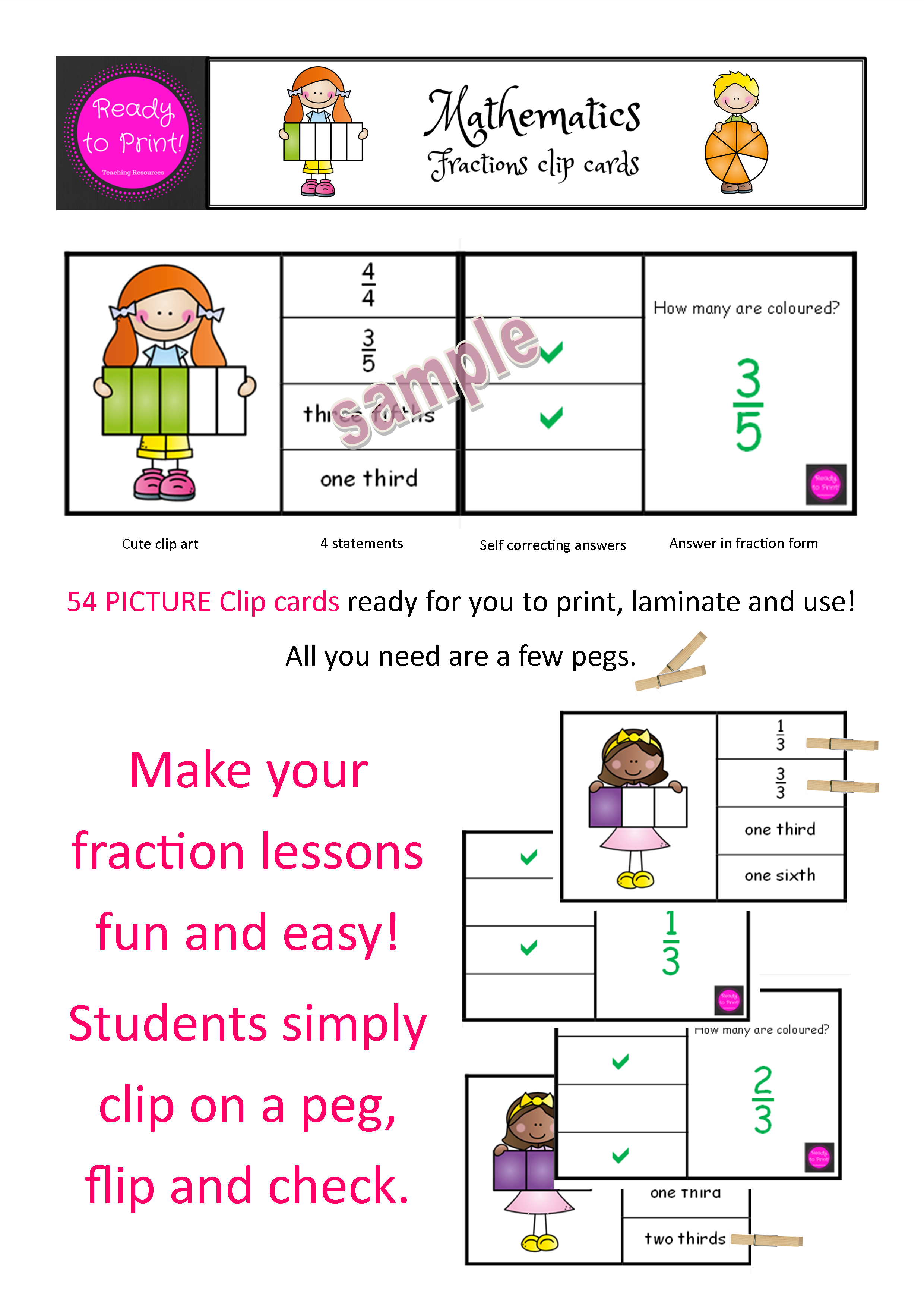 Fractions Clip Cards Shapes Designed By Teachers Clip Cards Fraction Lessons Teaching Essentials [ 3508 x 2480 Pixel ]