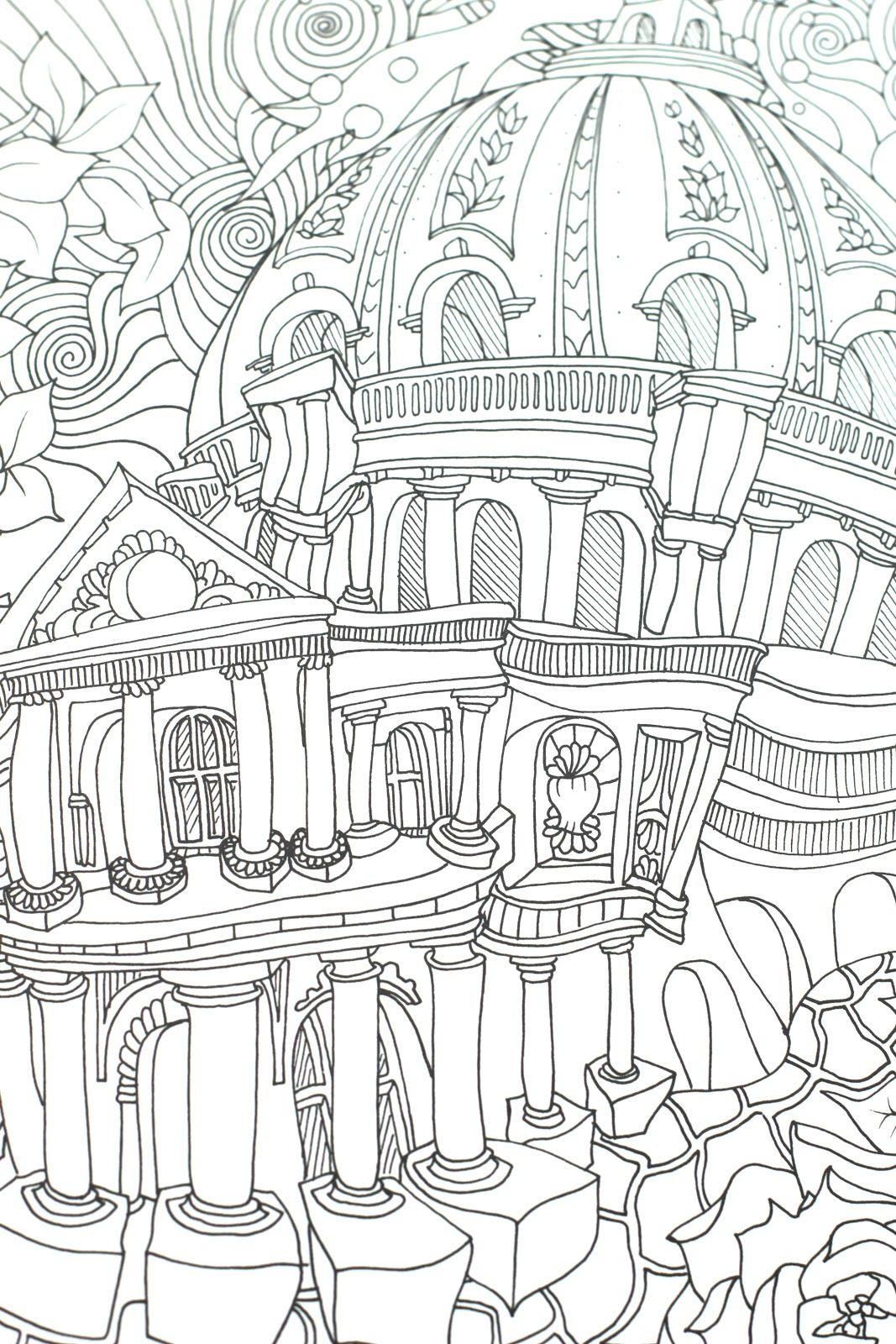 The Magical City Coloring Book | Architecture Coloring Pages for ...