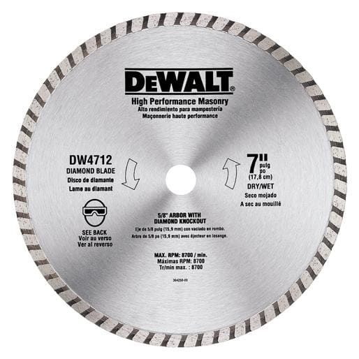 Black Decker Dwlt 7 Bulk Arbor Blade Dw4712b Unit Each Contains 10 Per Case Circular Saw Blades Blade Masonry Work