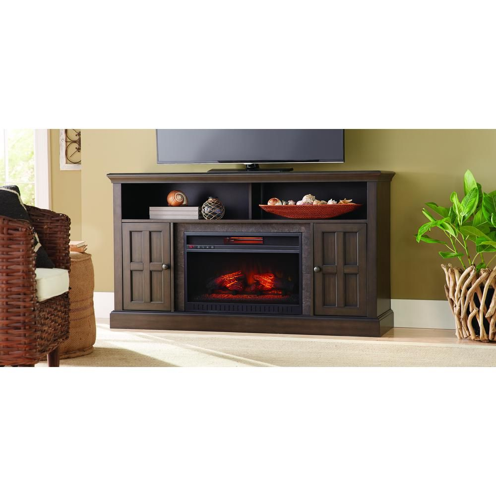 elmhurst 60 in media console infrared electric fireplace in brown