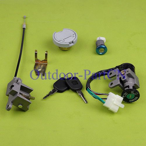 Fit Scooter Ignition Switch Key Set Locking Gas Cap Seat Lock For Gy6 50cc 5 Pin Seat Lock Locking Switch Ignition Scooter 50cc Scooter Gas