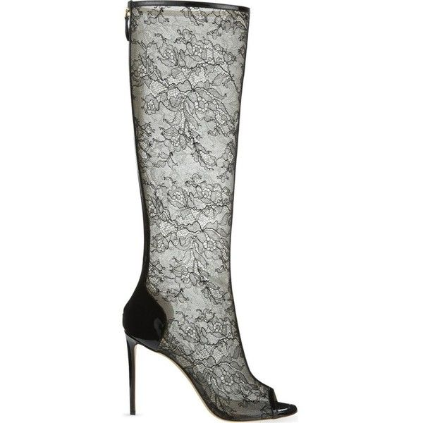 Lace heeled knee boots ($1,575) ❤ liked on Polyvore featuring shoes, boots, black, high heels stilettos, black peep toe boots, knee high boots, black knee high boots and black boots