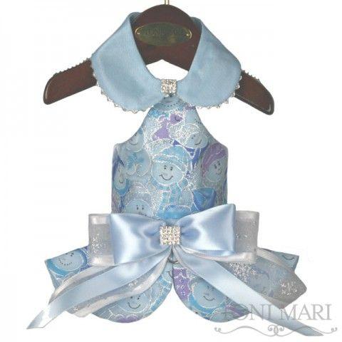 tonimari™ vest, halter top & shirred edge - holiday smiley snowman (light blue/silver)