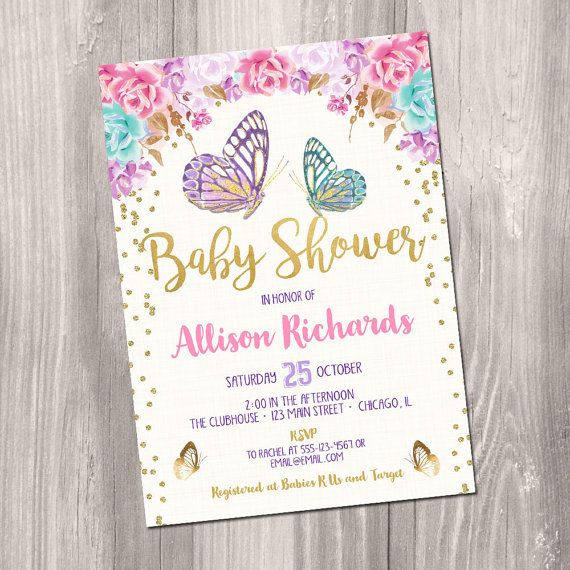 Butterfly baby shower invitation butterfly by StyleswithCharm - how to make a baby shower invitation on microsoft word