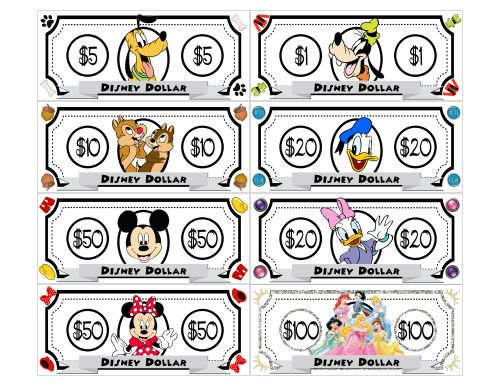 Freebie Printable Disney Dollars Play Money Going To Give Each