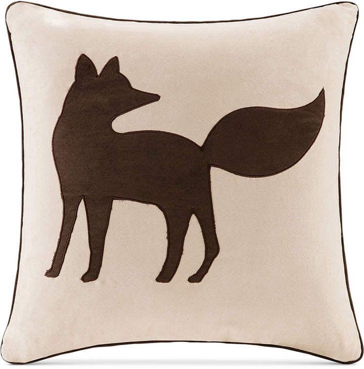 Madison Park FauxSuede Fox Applique 40 Square Decorative Pillow Inspiration Madison Square Decorative Pillow