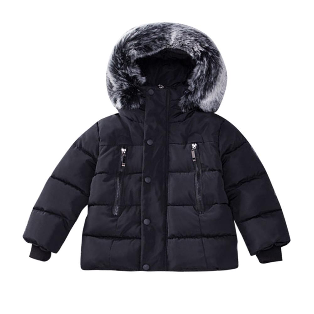 Kids Baby Girl Boys Winter Cotton Fur Hooded Coat Thick Warm Jacket Outerwear