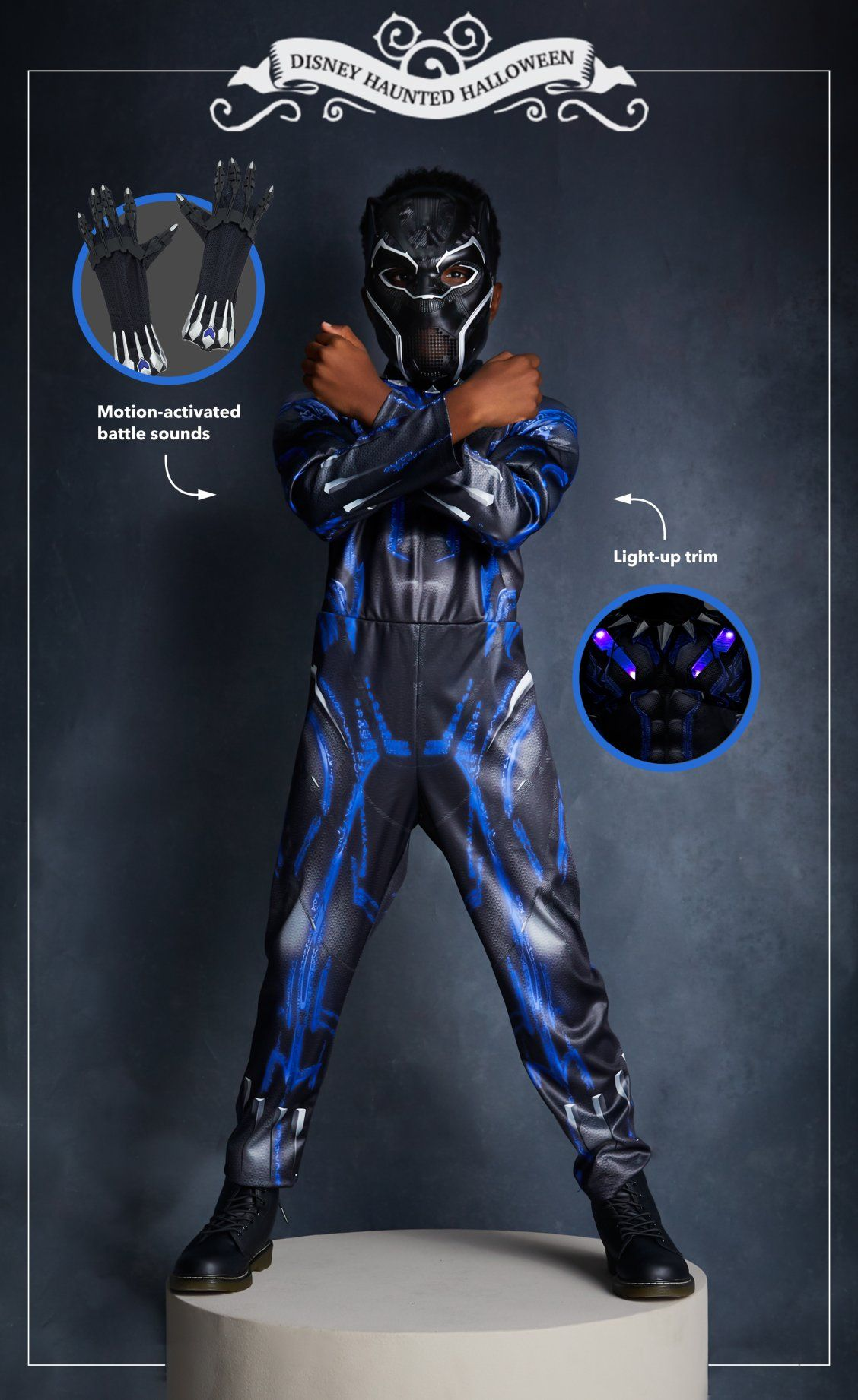 black panther light-up costume for kids | disney halloween costumes