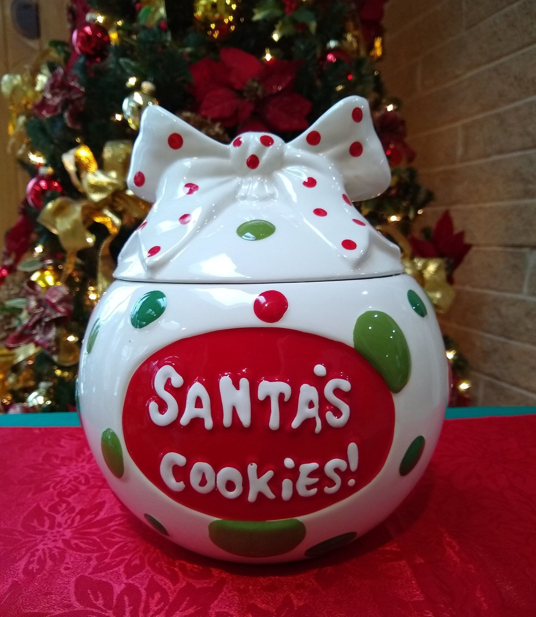 Santa S Cookies Ornament Cookie Jar Real Home Ceramic Christmas Cookie Jar Holiday Gift Excellent Condition Cookies For Santa Ornament Cookies Christmas Cookie Jars Santa Cookies