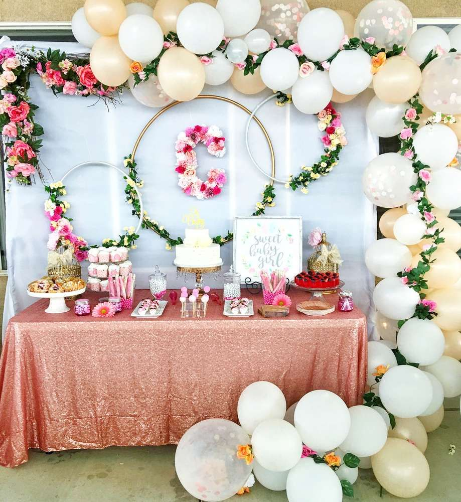 Loving this Floral baby shower! The balloon garland framing the wonderful  dessert table is gorgeous! See more party ideas and share yours at ...