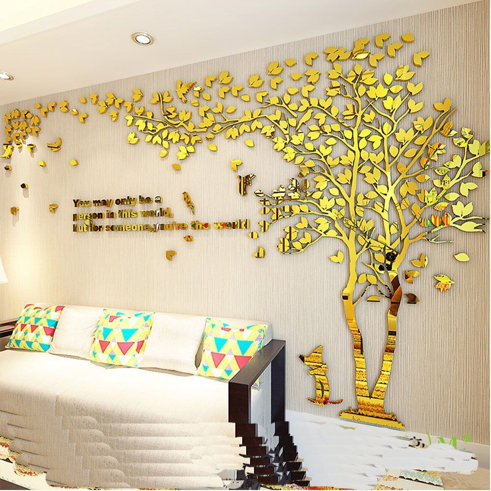 Tree Birds-3D Wall Stickers Acrylic DIY 3D Wall DecalsTree Wall ...