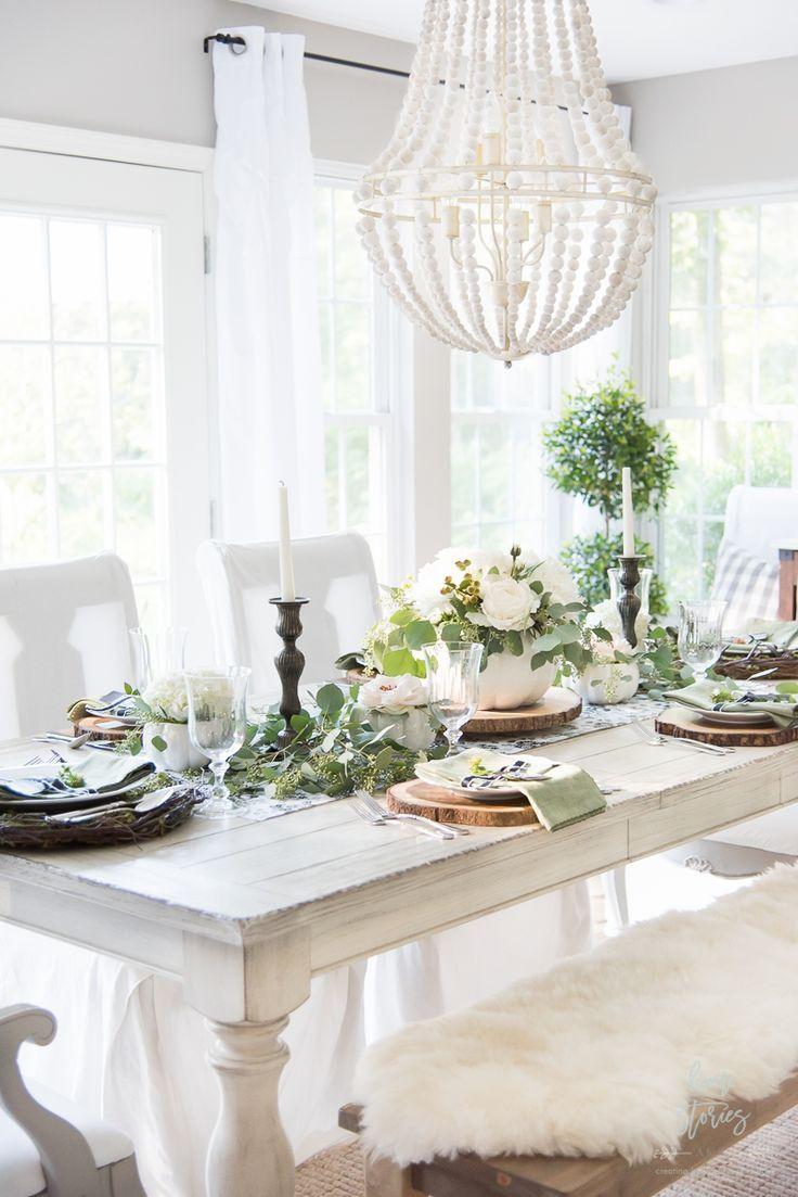 Elegant Black White And Green Farmhouse Table Setting For