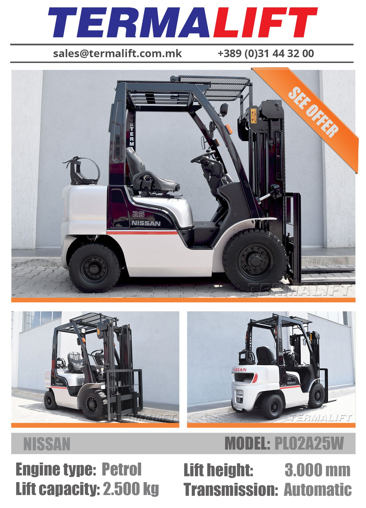 NISSAN | Forklift For Sale | Model: PL02A25W | Engine type