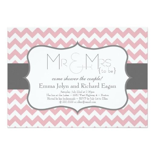 Soft Pink and Gray Chevron Bridal Shower Frame Card
