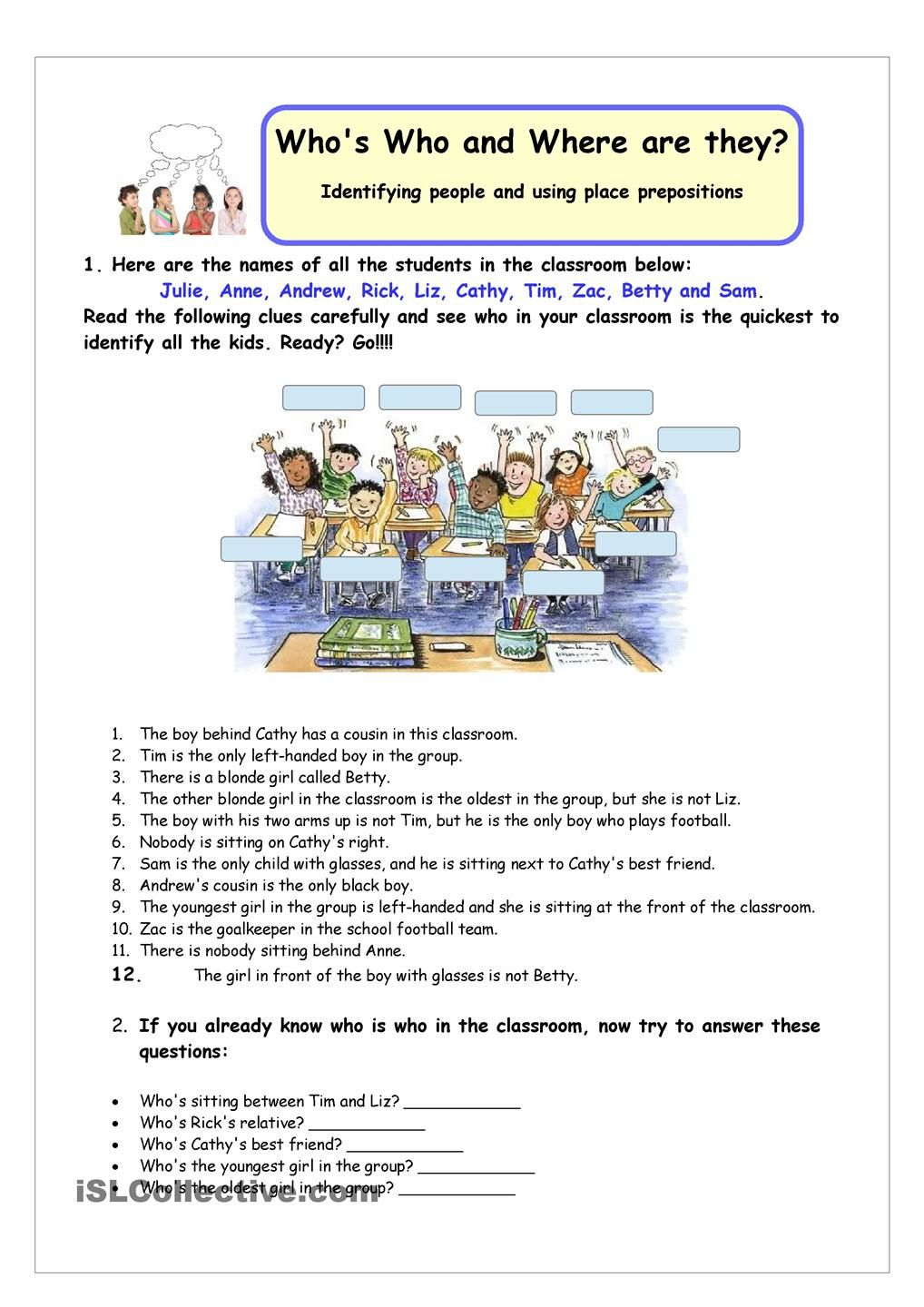 Whos Who and Where are they? | ESL worksheets of the day | Pinterest ...