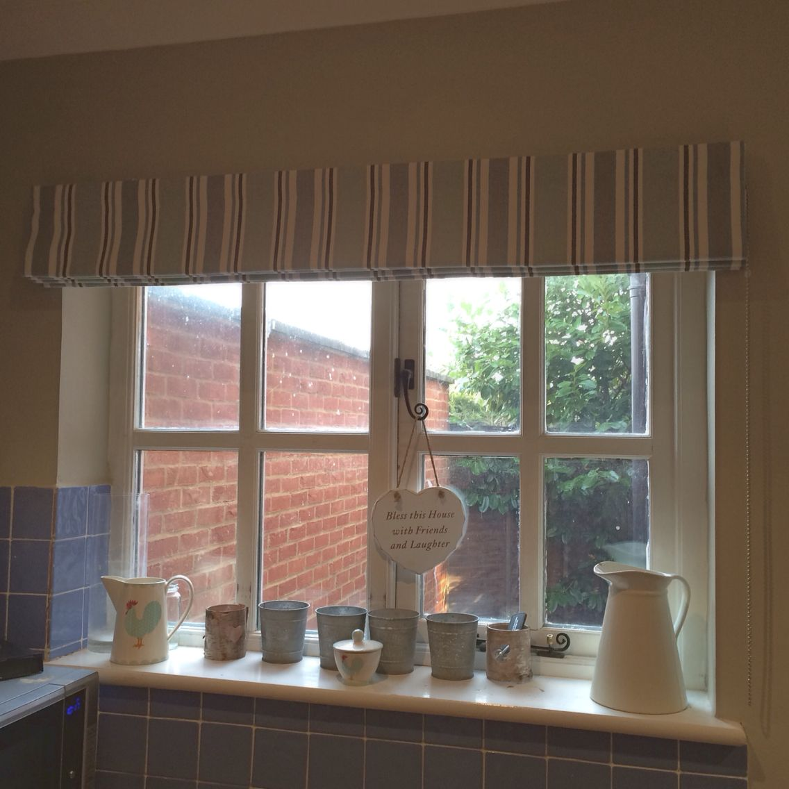 Striped Roman Blind For Clients Kitchen