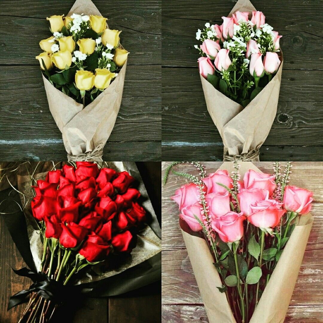 Buy Colourful Beautiful Roses Wrapped In Tissue Paper With Fillers