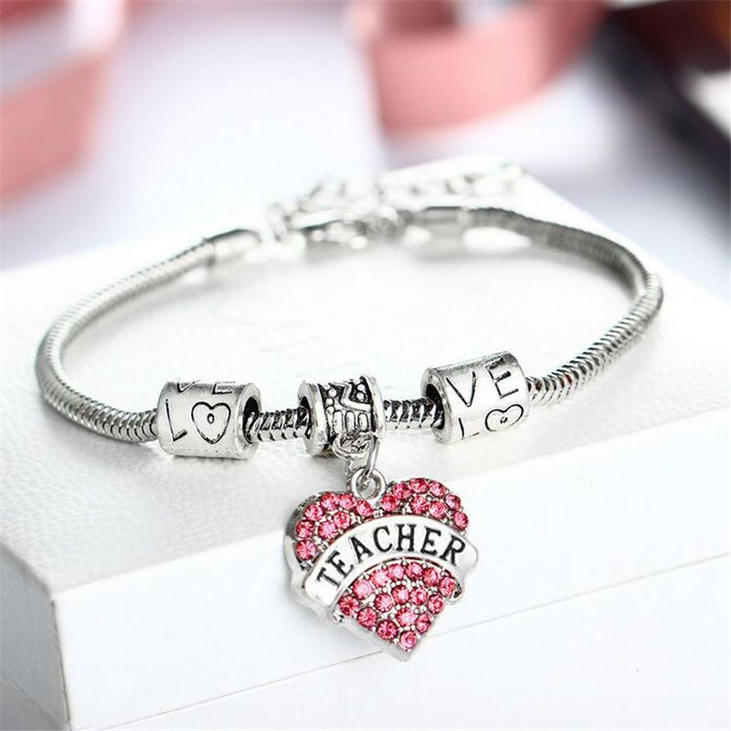 Gift for Girl Silver Alloy Pink Crystal Love Heart Niece Charm Pendant Bracelet Family Bangle Adjustable Ps2Ybgc