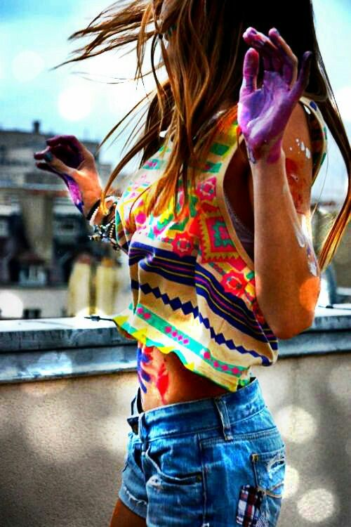 Hippie bohemian colorful paint♡ festival style