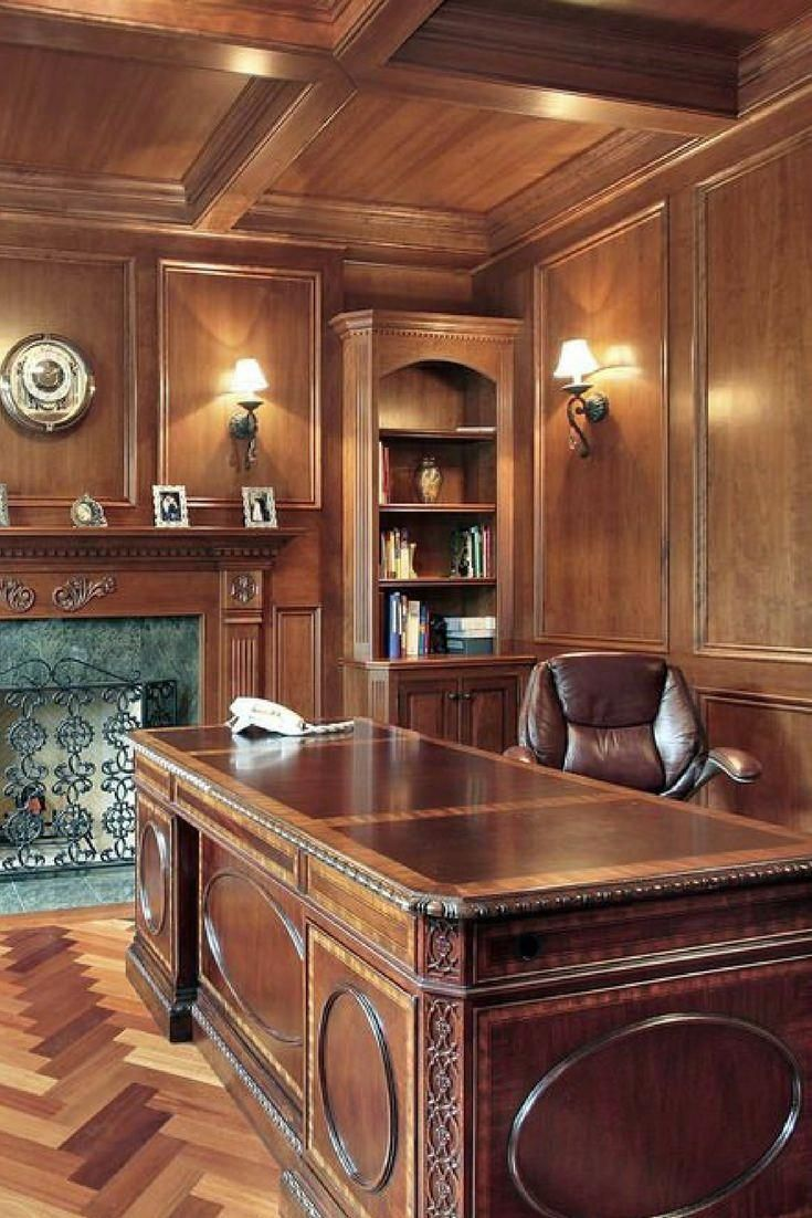 Wood Paneled Office: Old-world Style Home Office With Wood Paneling, Large