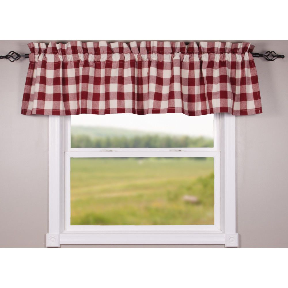 Buffalo Check Valance Red White 72 Home Collection By Raghu Country Curtain Raghu Country Red And White Curtains Country Curtains Valance