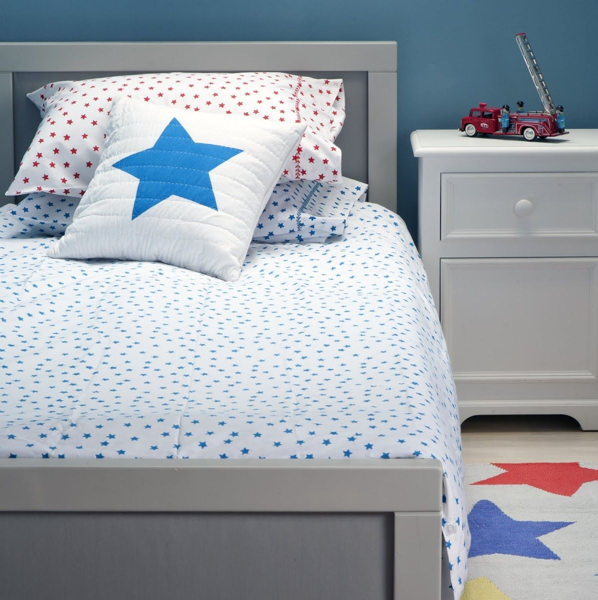 Lulu  Nat | Boys Bedding | Blue Star Duvet Cover
