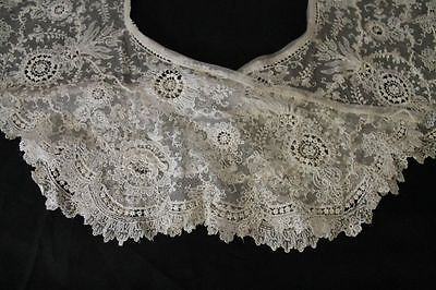 Antique Brussels Lace Bertha Collar w Layered Rose Petals Huge C LATE1800 | eBay