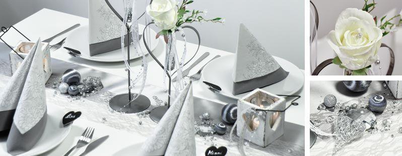 Tischdekoration zur hochzeit im vintage look in silbergrau mit spitzentischband bei tischdeko - Tischdeko silber ...
