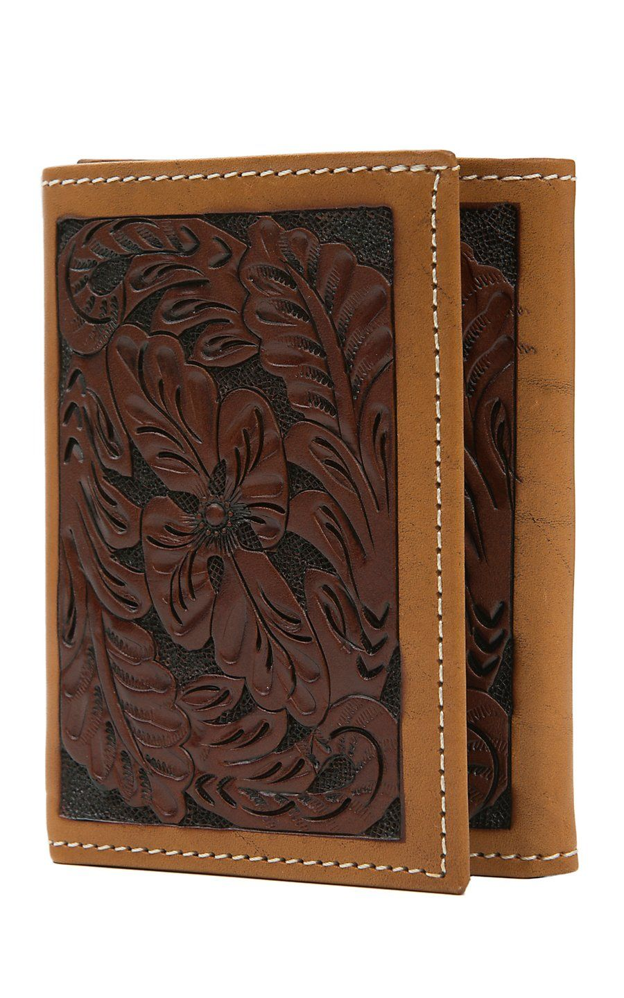 Tony Lama Trifold Brown Floral Tool With Tan Trim Wallet Wtl171 Wallet Leather Wallet Mens Floral Tools