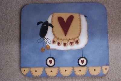 Primitive Mousepad Sheep Heart Penny Rug Blue Home Office Decor Handpainted. $15,00, via Etsy.