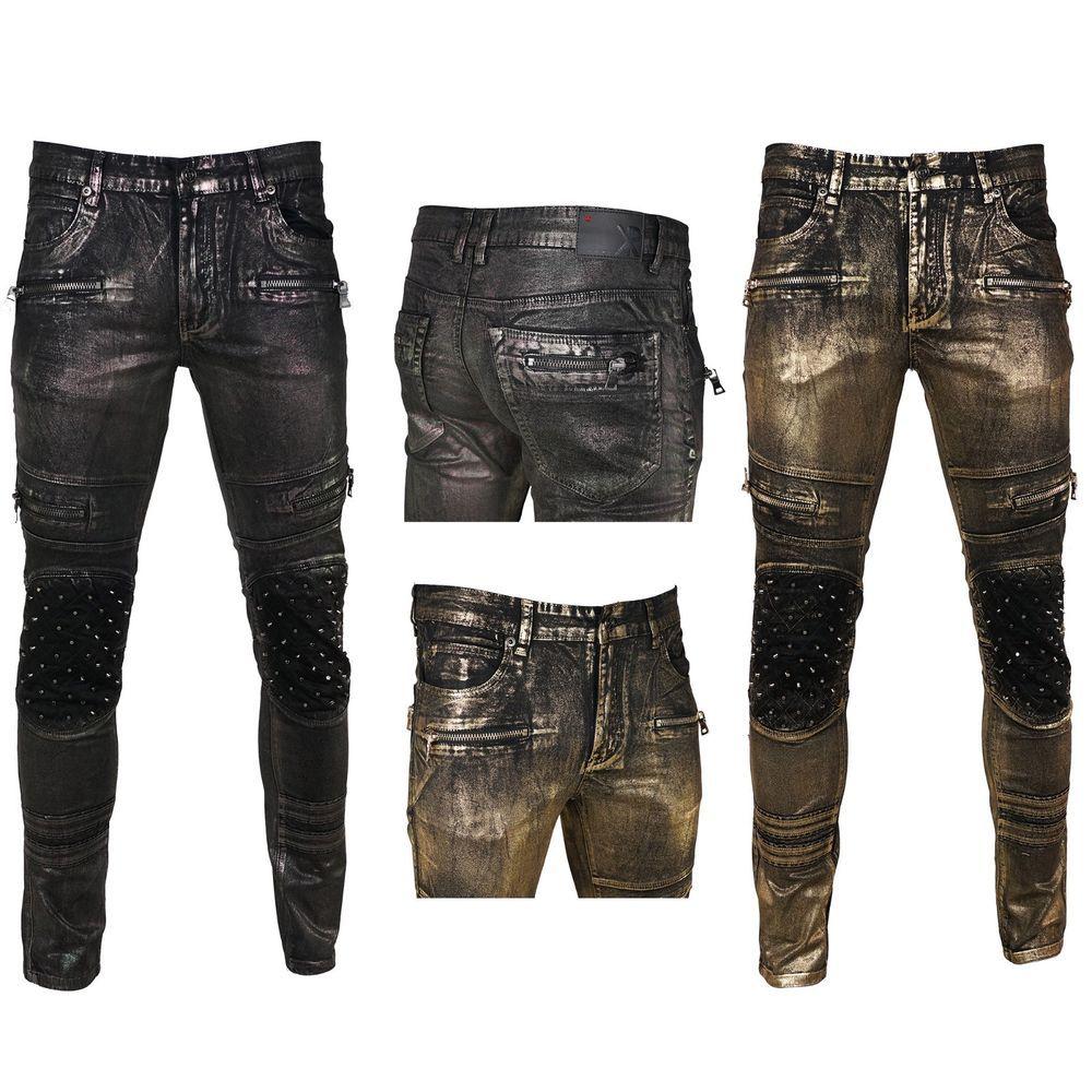 New Men Biker Distressed Premium Denim Jeans Skinny Fit Stretchy Size 30-38
