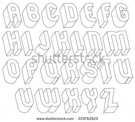 Black And White 3d Font Made With Thin Lines Single Color Simple Bold Letters Alphabet Best For Use In Web Design Advertising