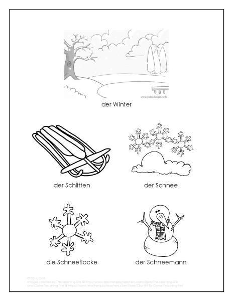 Winter Wortschatz Malvorlage - winter vocab coloring page - FREE ...