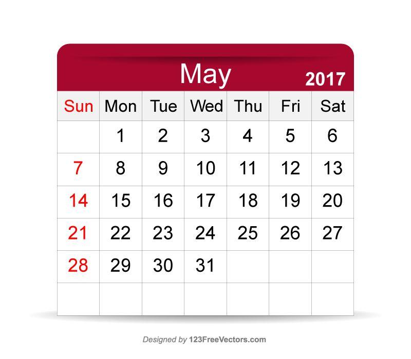 Calendar Pages Vector : Editable calendar may pinterest