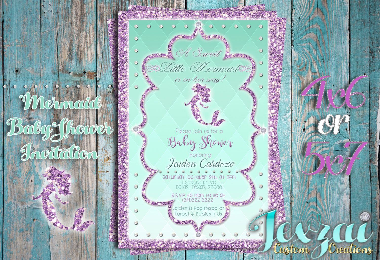Mermaid Baby Shower Invitation, Under The Sea Baby Shower, Glitter ...
