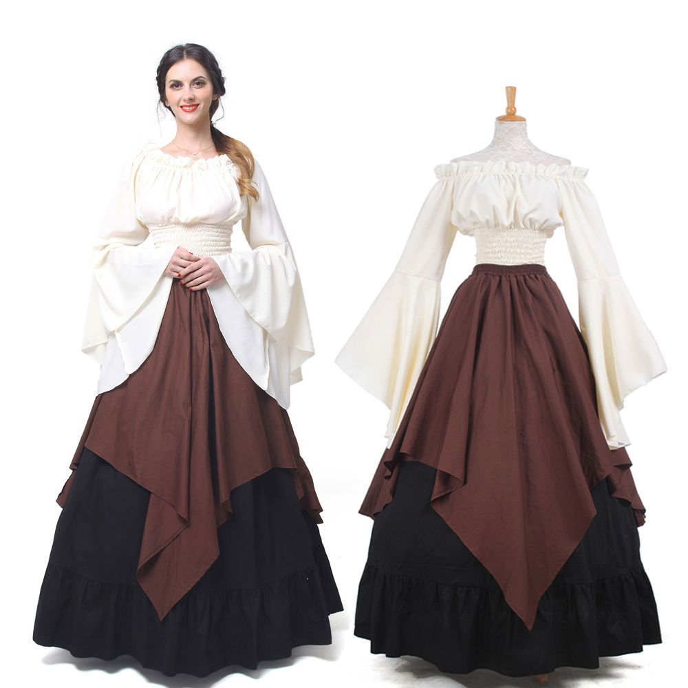 Women Medieval Dress Renaissance Halloween Costume Off Shoulder