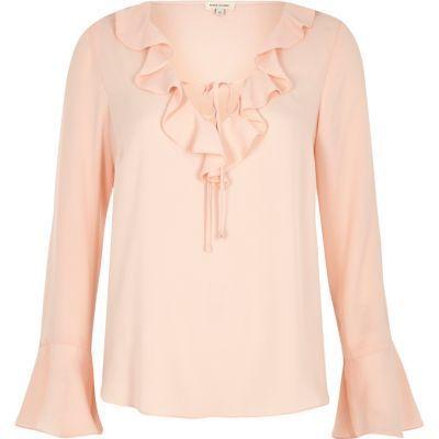 b868edcfb921c7 River Island Womens Light pink frill V neck blouse