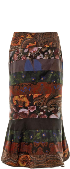 Straight from Givenchy's fall runway, this multi-print skirt is sure to get you noticed. The fitted silhouette flares into a peplum hem and features floral and baroque-style printed panels.