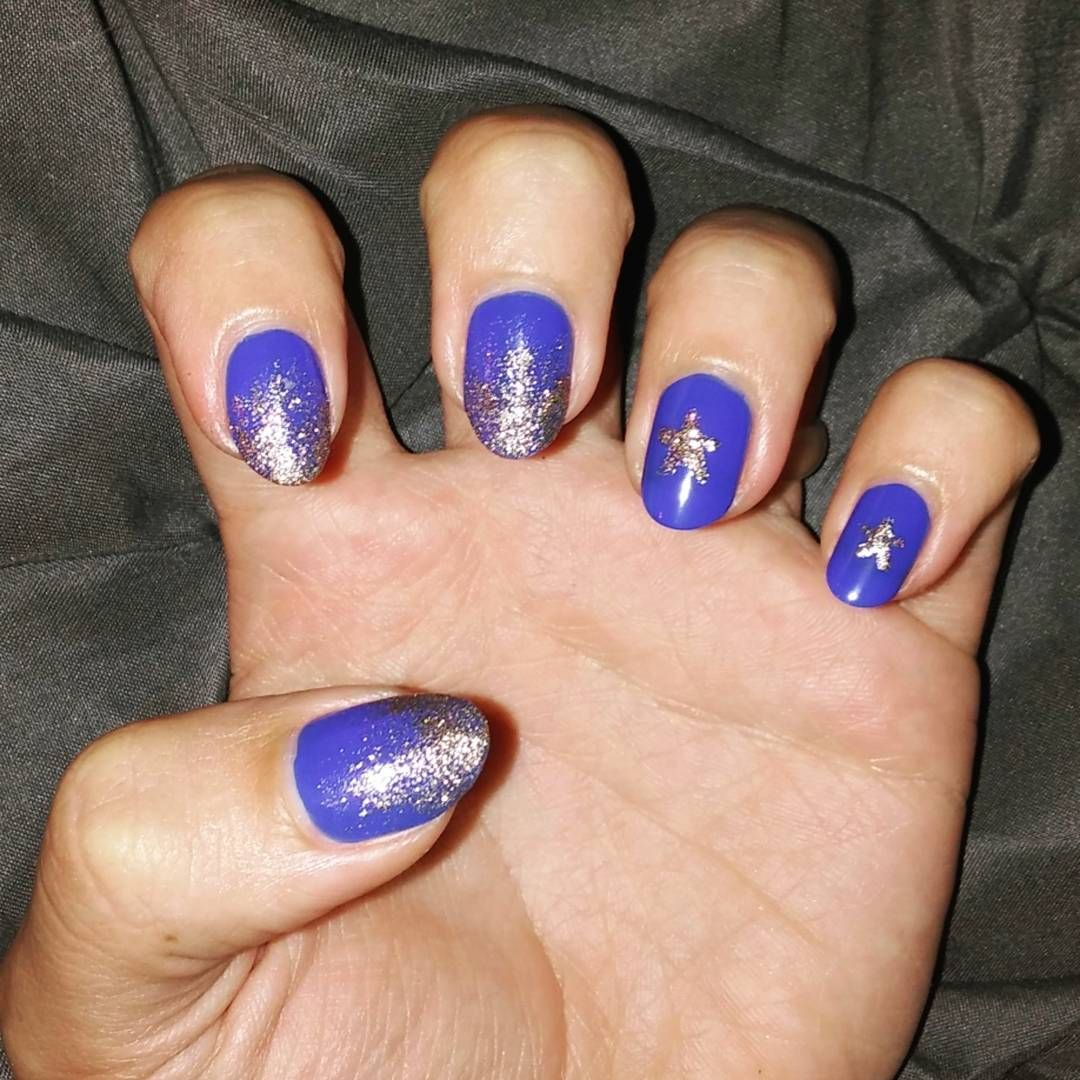 Night sky nails! This royal blue polish (#tidalwave by @sallyhansen ...
