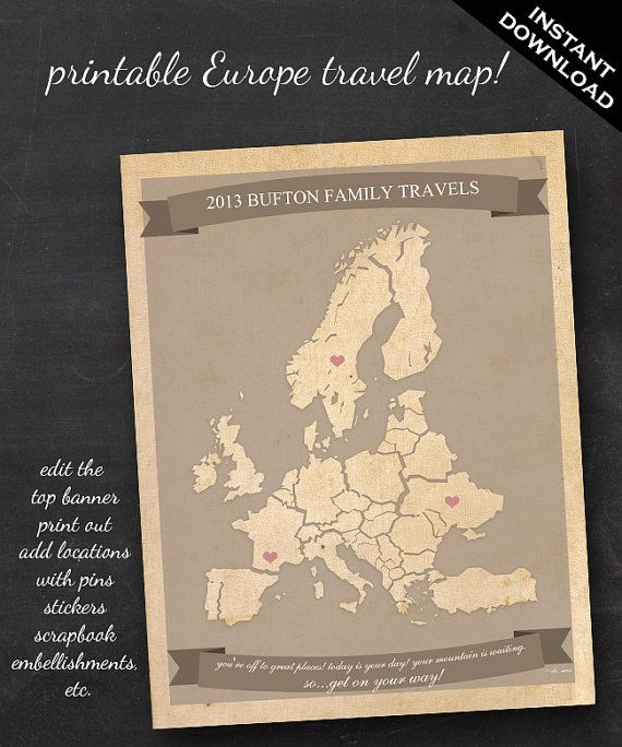 Travel map printable editable europe travel map instant download travel map printable editable europe travel map instant download gumiabroncs Gallery