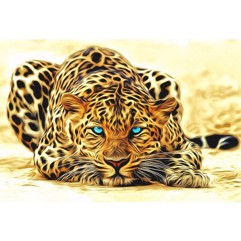 Sin marco leopardo animales bricolaje pintura by números de acrílico ...